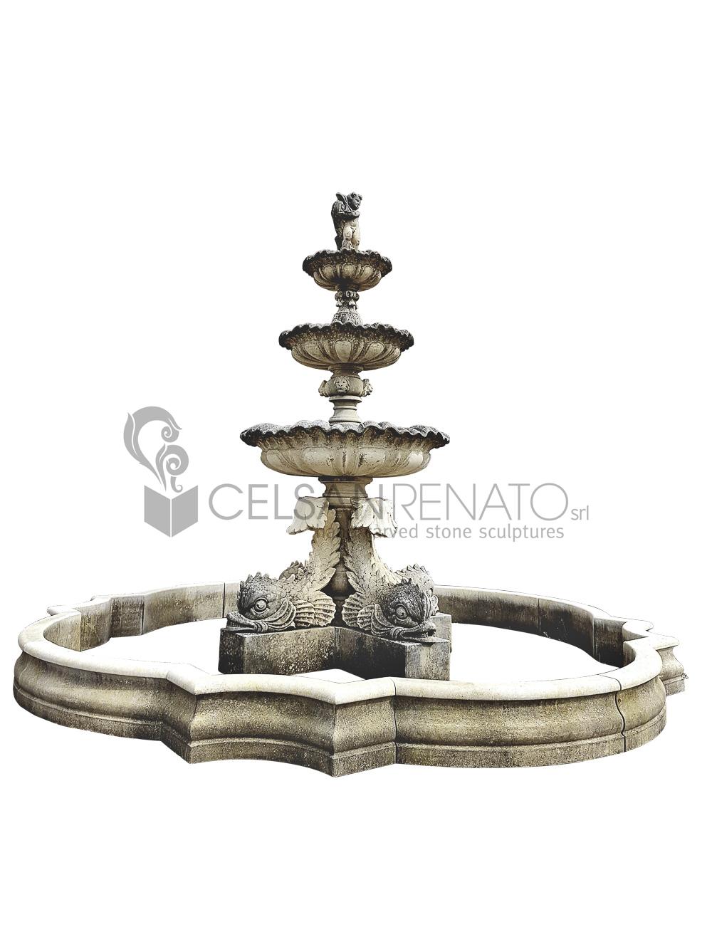 Vasche In Pietra Per Fontane fontana a 3 piani in pietra - lavorazione pietra di vicenza