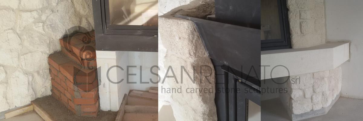 rivestimento in pietra, caminetto